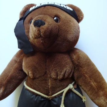 Vintage Rambear Rambo Teddy Bear Stuffed Animal 1986