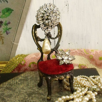 Vintage mini Chair jewelry holder display decor pocket watch holder collectible chair