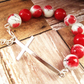 Red and White Christian Jewelry For Her, Cross Bracelet For Her, Christian Bracelet, Red Christian Jewelry,  Cross Jewelry