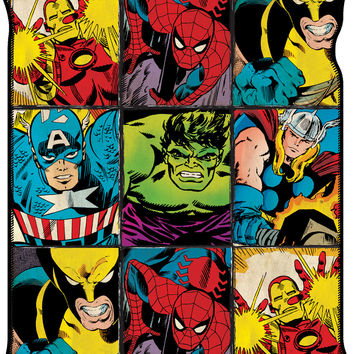 Marvel Retro Grid Fleece Throw Blanket