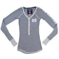 Victoria's Secret PINK Grey and Navy Long Sleeve Henley – Misses Small