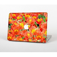 The Red and Yellow Watercolor Flowers Skin for the Apple MacBook Air 13""