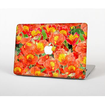 The Red and Yellow Watercolor Flowers Skin for the Apple MacBook Pro 13""