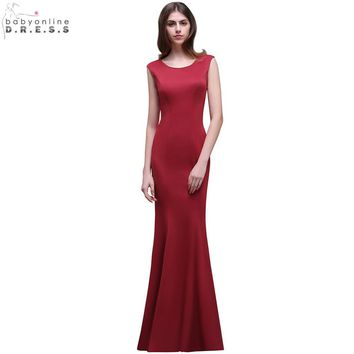 Robe de Soiree Cheap Burgundy Long Mermaid Evening Dress 2017 Elegant Scoop Neck Sleeveless Satin Evening Gowns