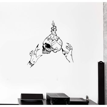 Wall Decal Skull Skeleton Candle Magic Witch Vinyl Sticker (ed1284)