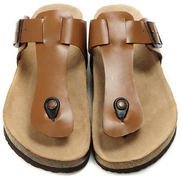 Birkenstock Leather Cork Flats Shoes Women Men Casual Sandals Shoes Soft Footbed Slippers-21