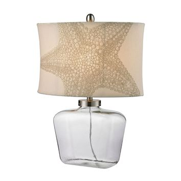 Clear Glass Bottle Table Lamp in Polished Nickel Clear