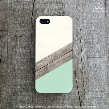 MINT iPhone Case, Wood iPhone 5s Case, Geometric iPhone 5 Case, Stripes iPhone 4 Cover, Color Blocks iPhone 5c Case, Spring Color iPhone 4s