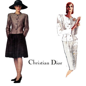 Christian Dior Skirt Jacket 1980s Vintage Vogue Paris Original 1919 Sewing Pattern Size 14 Bust 36 inches