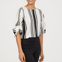 Tie-sleeve Blouse - White/black striped - Ladies | H&M US
