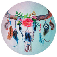 Awesome Rose Skull and Feather Floral Printed Round BOHO Beach Blanket Yoga Mat Bath Towel