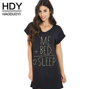 HDY Haoduoyi 2017 Loose Letter Print O-neck Rolling Short Sleeve T-shirt