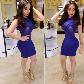 Royal Blue Mesh Insert Sleeveless Bodycon Dress