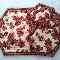 Hot Pad, Trivet, Quilted, Small, with 4 matching Coasters, Fall Decor
