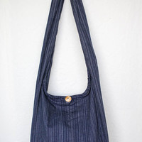 "YAAMSTORE ""simple navy blue stripe"" sling  shoulder bag hippie hobo shopping travel carrying grocery school purse  MEDIUM plain simple"
