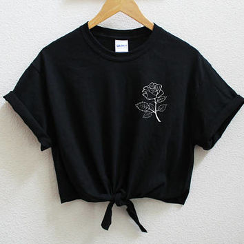 Rose Unisex Knot Crop Shirt S-5XL