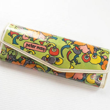 Vintage Peter Max Vinyl Eyeglasses Case Psychedelic Flower Power 70s Fashion