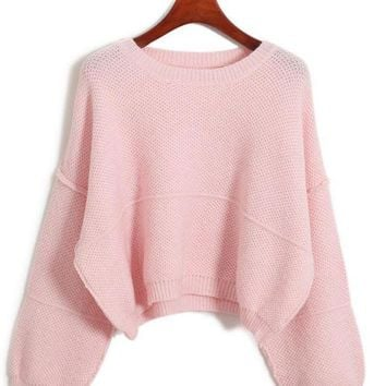 DCCKB62 Long Sleeve Cropped Knit Sweater