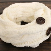 Womens Chunky Knit Scarf, Knitted Infinity Scarf, Winter Scarf, Chunky Scarf, Button Scarf, Ivory Infinity Knit Scarf, Knit Scarf, Scarves from My fashion creations