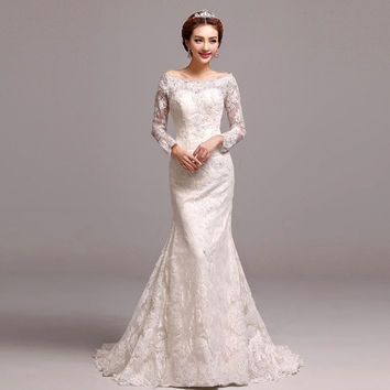 Luxurious 2015 new luxury lace sleeve mermaid bride wedding dress = 1929542468
