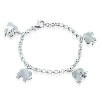 Charm Dangling Good Luck Elephant Bracelet Rolo Chain Sterling Silver