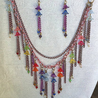colorful flowers and chains fringe bib style necklace