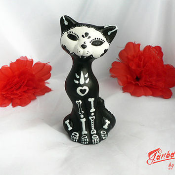 Cat sculpture painted handmade - Calaca Sugar Skull Day of the Dead - Black Cat - Dia de los muertos - Handmade