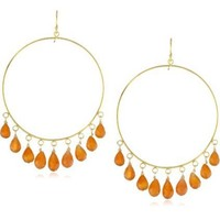 "Wendy Mink ""Brights"" Large Carnelian Drop Earrings"