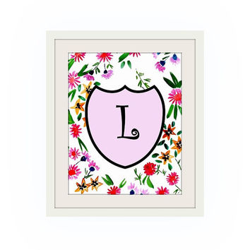 Printable monogram letter, L, floral PINK wall art, baby boy girl Name initial, print custom, personal letters, Nursery decor, digital BLACK