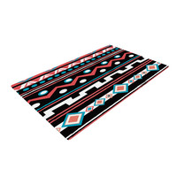 "Nika Martinez ""Black Tipi"" Red Tribal Woven Area Rug"