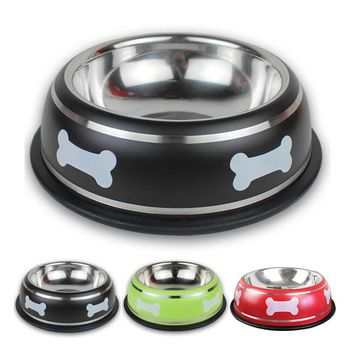 Bone Print Colored Stainless Steel Bowls