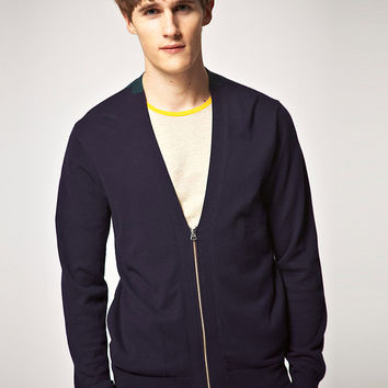 Paul Smith Zip Cotton Knit V Neck M Sweater Jacket Color Block Oversized Loose Fit Cardigan