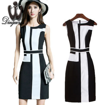 2017 Summer Black Slim Working Pencil Dress Woman Sleeveless fashion mid patchwork office ol Dress Knee Length