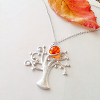 Silver Tree of Life Opal glass Charm Pedant Necklace – Wedding jewelry- Bridesmaid gifts