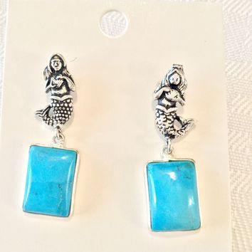 Mermaid Turquoise sterling silver earrings