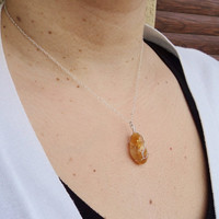 Wire Wrapped Citrine Pendant Sterling Silver Necklace Boho Necklace Birthstone