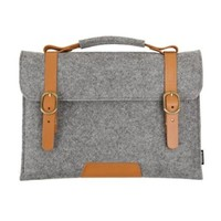 Suoran Macbook Pro 13 Inch Macbook Bag Sleeve Wool Felt With Vegetable Leather Handle Briefcase Felt Sleeve Case Portable Laptop Bags For Macbook Pro 13 Inch (12.6x10.0x0.5) - Gray