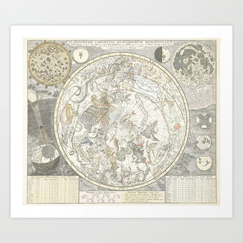 Star map of the Southern Starry Sky Art Print by anipani