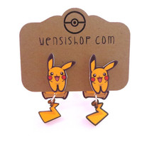 Pikachu Happy (Pokemon Inspired) Cling Earrings