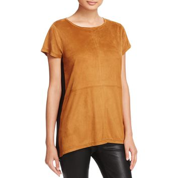 Avec Womens Faux Suede Mixed Media Casual Top
