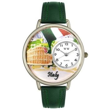 SheilaShrubs.com: Unisex Italy Hunter Green Leather Watch U-1420005 by Whimsical Watches: Watches