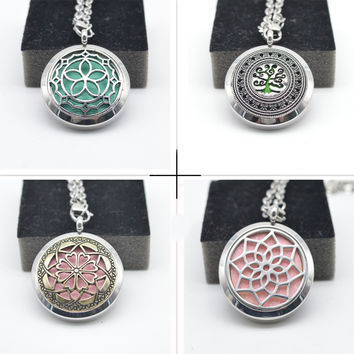 2016 Trendy Essential Oil Diffuser Perfume Locket with Chain 30mm Stainless Steel Aromatherapy Jewelry Floating LocketS Necklace