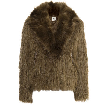H&M - Faux Fur Jacket - Khaki green - Ladies