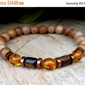 Gemstone Mens Bracelet, Men's Bracelet, Baltic Amber, Tiger Eye, Eco Friendly Jewelry, Yoga, Mala, Protection, Meditation Bracelet