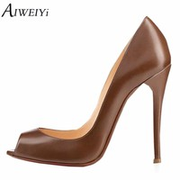 AIWEIYi Women's Stiletto High Heels Peep toe Pump Shoes Black Brown Slip On High Heels Spring Autumn Ladies Wedding Shoes Woman