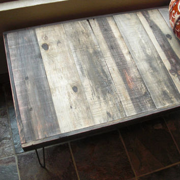 35% OFF SALE - Barn Wood Coffee Table - Industrial Furniture - Modern Reclaimed Rustic Wood with Vintage Steel Hairpin Legs