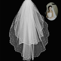 White Ivory Double Tiered Short Wedding Bridal Veils with Beads Comb Brides Veil