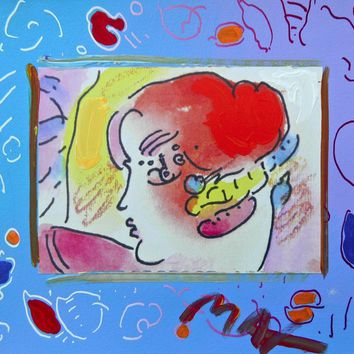 Lady Profile on Blue, Original Mixed Media Painting, Peter Max