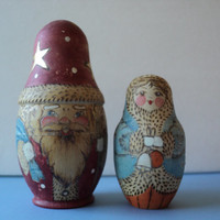 Russian Christmas Matroyoshka Dolls Santa Claus Father Christmas Two Wooden Nesting Dolls Cute Retro Stocking Stuffer Christmas Gift