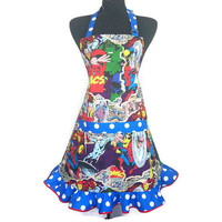 Marvel Super Hero Apron for women Comic Book Kitchen Decor , Ironman , Thor , Wolverine , The Incredible Hulk , Co
